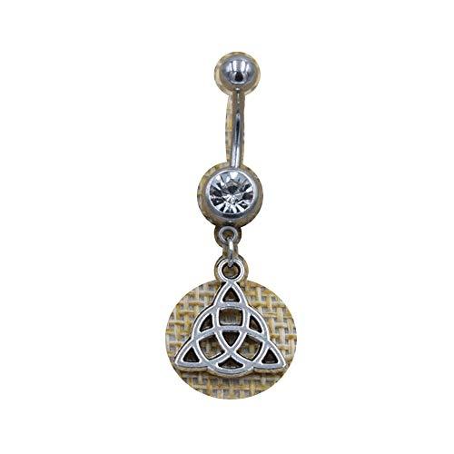 New Body Navel Piercing Jewelry Celtics Triquetra Knot Triskele Triskelion Triple Spiral Pendants Dangle Bar Belly Button Rings (#2)
