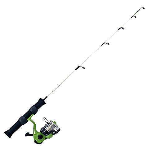 """Quantum Ice Spinning Reel and Ice Fishing Rod Combo, Solid Carbon Rod, Lightweight Graphite Ice Fishing Reel with Aluminum Spool, Green, 28"""" (QIGRUL28M.NS4)"""