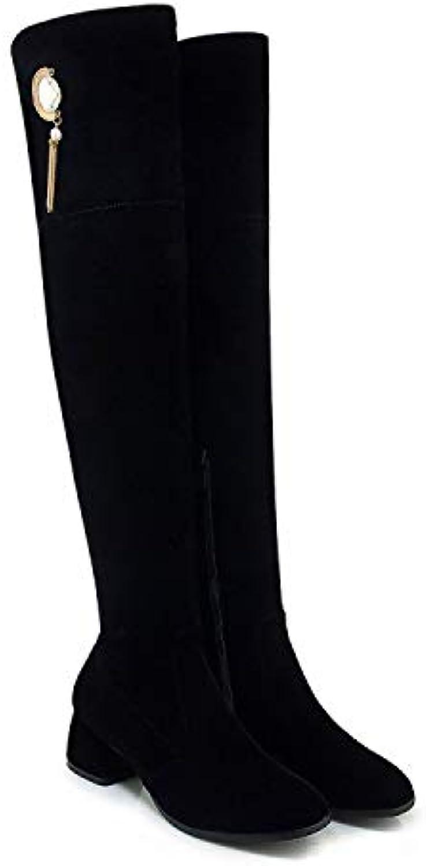 HRCxue Pumps Damenstiefel Gold Samt Strass Lange Stiefel Stiefel Flut Martin Stiefel schlanke Beine Stiefel, schwarz, 34  | Die erste Reihe von umfassenden Spezifikationen für Kunden