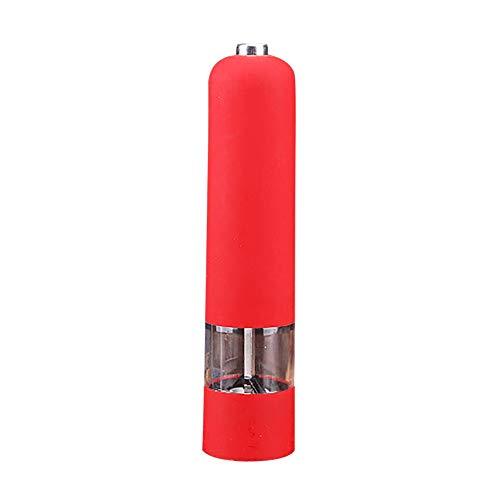 Savlot kunststof elektrische pepermolen huishouden pepermolen draagbare zout kruidenpotjes rood