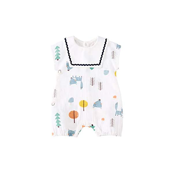 pureborn Unisex Baby Boys Girls Romper Cute One-Piece Cotton Short Sleeve Summer Outfit Clothes