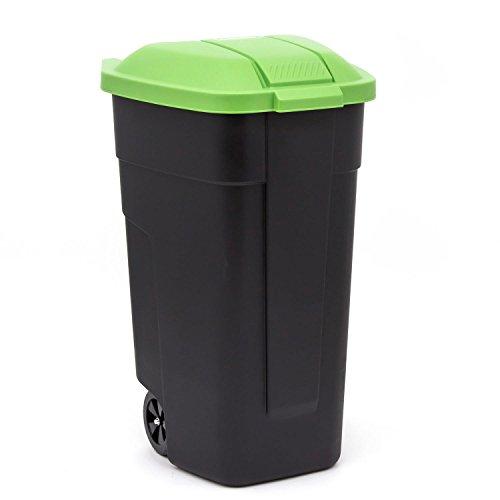 curver Mülltonne m. Räder Mülleimer Abfalleimer Müllternnung110 L schwarz/grün
