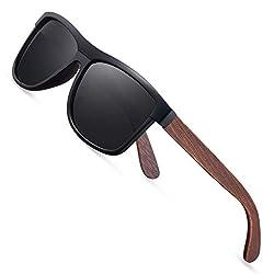 wearPro Sonnenbrille Herren Polarisierte Walnussholz Holz Männer Frauen Sonnenbrillen UV400 Mode für das Reisen mit polarisierten Gläsern W1003 (W MBlack)