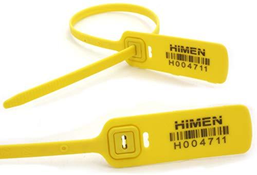 100x SELLOS de plástico con incrustaciones de metal por HIMEN | numerados consecutivamente | con CÓDIGO DE BARRAS | Longitud 400 mm | MPS-400 | Siglios | amarillo ✅