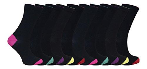 sock snob - Damen Druckfreie schwarz gefärbte Zehen Baumwolle reich Socken im Multipack (10er pack) Heel und Toe