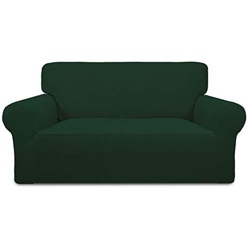 Easy-Going Funda elástica de gran tamaño, 1 unidad, protector de sofá, suave con parte inferior elástica para niños, tela jacquard de poliéster, elastano, a cuadros, color verde oscuro