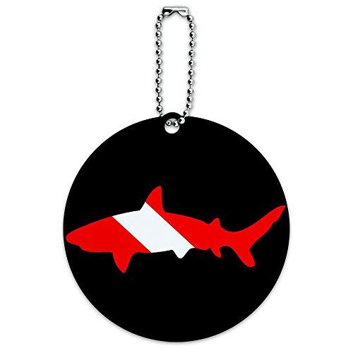 Squalo Scuba Simbolo su Black Dive Tondo Bagaglio ID Tag Valigia Carry-On