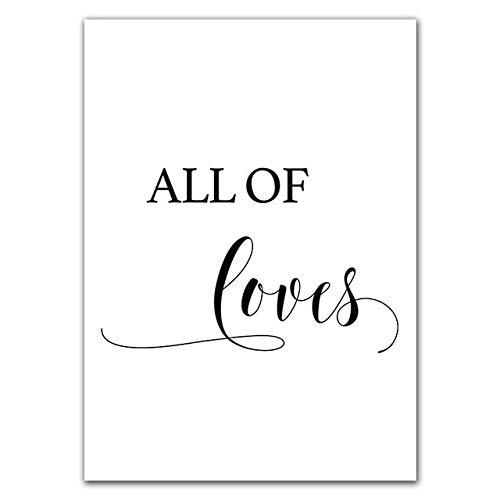 JXMK Cartel de la Pintura de la Lona en Blanco y Negro Amor Vida Sala de Estar decoración de la Pared Arte nórdico del Diente de león 40x50 cm sin Marco