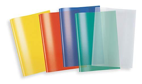Herma 20214 - Copertina per quaderno, formato A5, in plastica trasparente, set da 5 pezzi per ogni colore: blu, rosso, verde, giallo, arancione