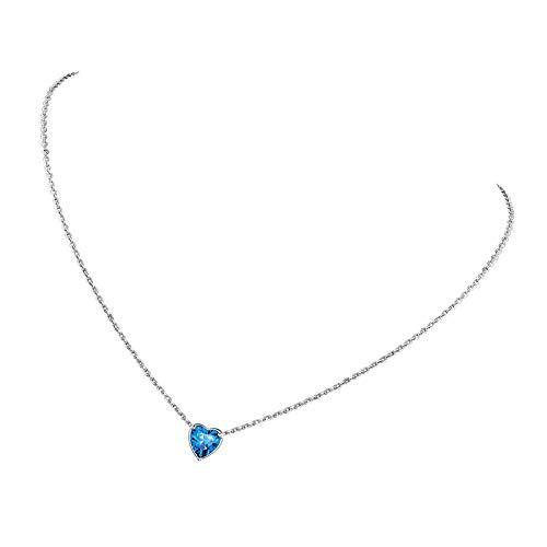 Collar de piedra natal de diciembre de plata de ley con topacio azul para mujer