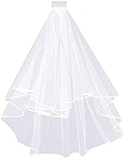 1Pcs White Double Ribbon Bride to Be Bridal Accessories for Bachelorette Party Bridal Shower Hen Party Wedding Veil
