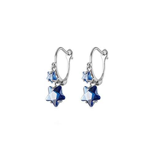 LNSTORE 925 Modelos de Cristal Azul de Plata esterlina Linda Estrella del aro Pendientes de Las Mujeres Hermosas Joyas Pendientes del aro De Moda y Duradero