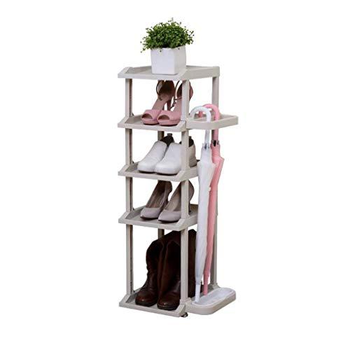 RENJUN - Zapatero estrecho de plástico gris con soporte lateral para paraguas, 5 niveles para pasillos de baño, organizador de zapatos, estante