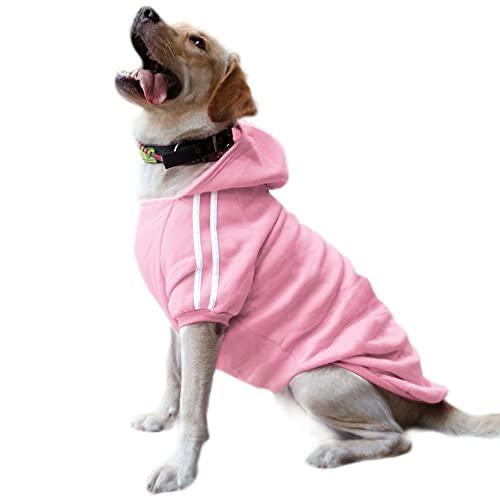 DULEE Felpa Cane Grande Vestiti Cappotto Caldo Felpe con Cappuccio Maglione per Cucciolo di Cane Piccolo in Cotone Costumi Abbigliamento per Animali Domestici Pink 6XL