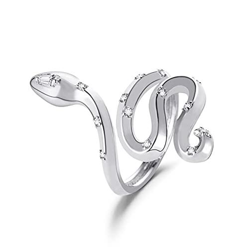 1 piezas anillo de serpiente Retro Punk anillo exagerado anillo abierto anillo ajustable joyería-plata 03