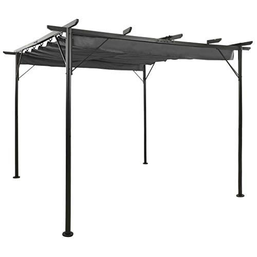 vidaXL Pergola with Retractable Roof Outdoor Garden Patio Lean-to Pergola Carport Arch Arbour Sunshade Gazebo Anthracite Steel 180 g/m²