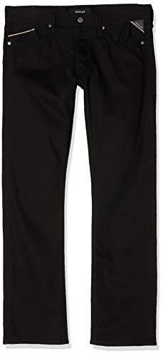 Replay Herren Waitom Straight Jeans, Schwarz (Black 98), W36/L34