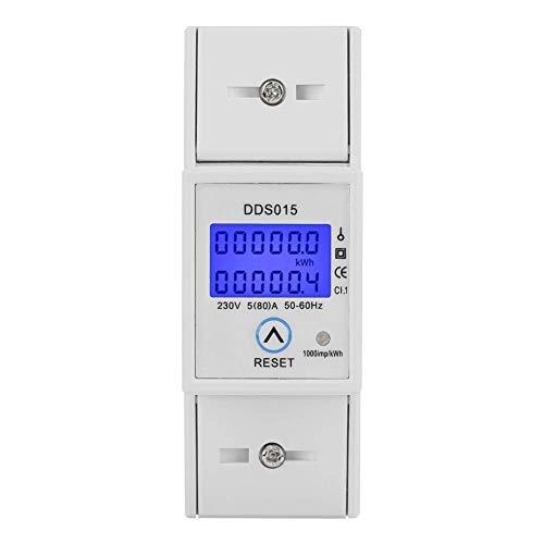 Compteur d énergie numérique, 5-80A 230V 50Hz Affichage LCD numérique Monophasé Compteur d énergie Wattmètre Montage sur rail DIN KWh DDS015 Protection contre les surcharges Économie d énergie