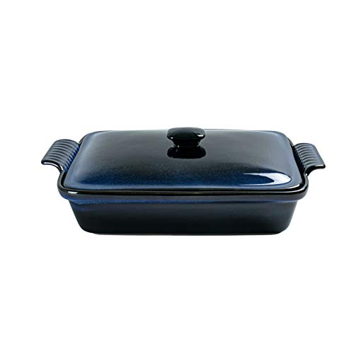 Rectangular Casserole Dish with Lid, UNICASA 2.8qt Covered Casserole, Reactive Glaze Space Blue, Baking Dish for Cooking, Microwave Oven Safe