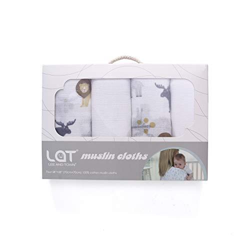 LAT 4 Piezas Paños Muselina Bebe70 x 70 cm,100% Algodón Toalla Facial Infantil Pañuelo Bebe Accesorio Para Niños (Bosque)