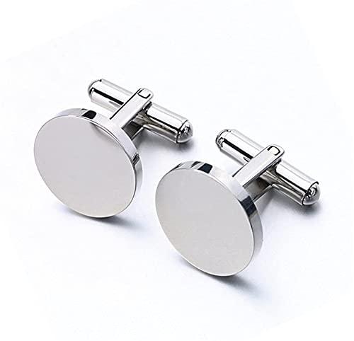 ALOMIN 2 gemelos de acero inoxidable para hombre, boda, novio, clásico, negocios, gemelos en blanco para hombres (tamaño: cuadrados)