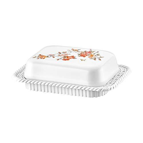 Ozmet, portaburro in plastica senza BPA, bianco/fiore – Campana per il burro, stabile e compatto