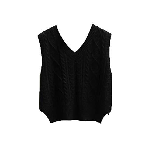 Mujeres Corta Suelta suéter de Punto sin Mangas Chaleco sólido con Cuello en V Cuello en V. Black Vest S