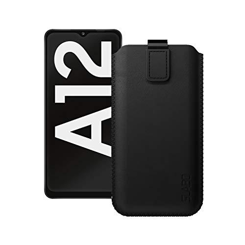 Slabo Schutzhülle für Samsung Galaxy A12 (A125F) Schutztasche Handyhülle Hülle mit Magnetverschluss aus Kunstleder - SCHWARZ | Black