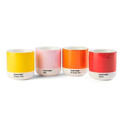 Pantone doppelwandiger Porzellan-Thermobecher Cortado, ohne Henkel,190ml, 4er-Set in Geschenkbox, Yellow 012C, Red 2035C, Orange 021C, Light Pink 182C, Mix