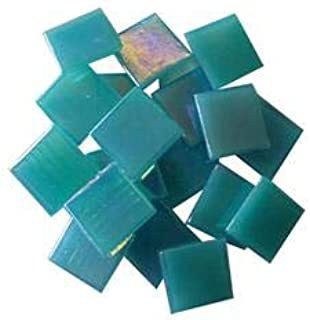 Jennifer's Mosaics 3/4-Inch Iridized Venetian Style Glass Mosaic Tile, Teal, 8-Ounce