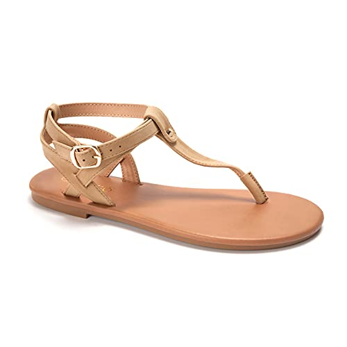 Thong Flat Sandals, Casual T Strap Dress Sandals, Adjustable Ankle Buckle Dress Thong Sandals with Strappy for Women Summer Wedding (Light Brown/Sdl,6)