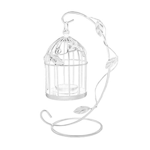 Mobestech - Portacandele in metallo con gabbia per uccelli, stile vintage, da appendere, decorazione per casa, matrimonio, centrotavola (bianco)