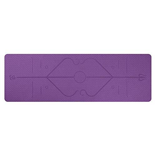 FHC 1830 * 610 * 6 mm TPE Estera de Yoga Adecuada a la posición de alfombras Antideslizantes en línea para el Medio Ambiente Gimnasia físicas Principiantes Estera,Purple