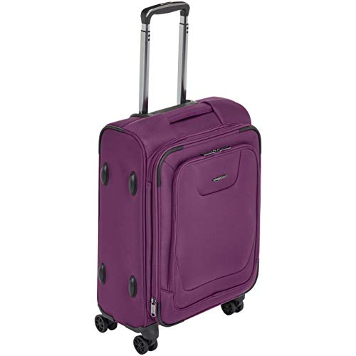 AmazonBasics Expandable Softside Carry-On Spinner Luggage Suitcase With TSA Lock And Wheels - 23 Inch, Purple