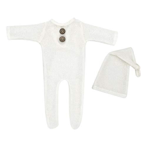 MOVKZACV Mono de beb recin nacido unisex con botn slido para nia, accesorio para fotos de beb, sombrero de cola larga con body para nios y nias, fotografa (blanco)