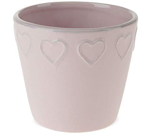 matches21 Pflanztopf Blumentopf Keramik Herz Rand Übertopf Keramiktopf Herzrelief 1 STK rosa - Ø 9,5x8,5-3 Größen