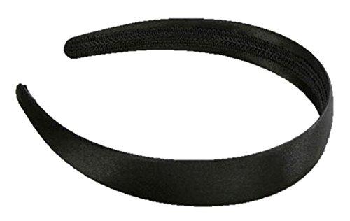 Pour Filles de 2,5 cm Noir satiné aliceband cheveux/bandeau/cheveux accessoire – Noir