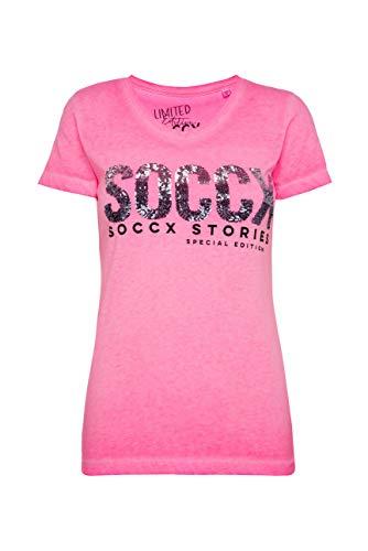 SOCCX Damen T-Shirt mit V-Ausschnitt und Pailletten-Logo