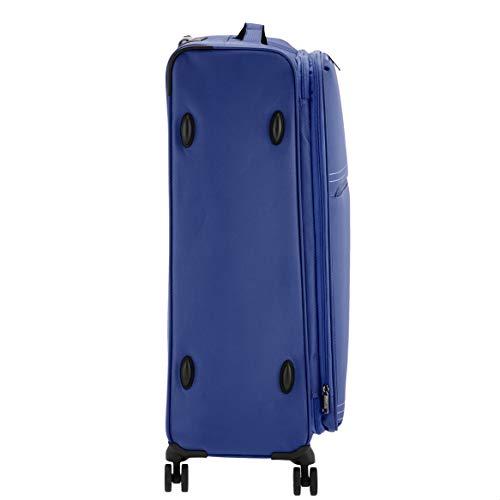 AmazonBasics Lightweight Luggage, Softside Spinner Travel Suitcase with Wheels - 81.28 cm, Blue