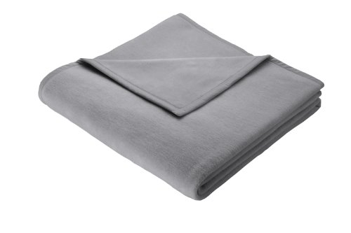 Biederlack Kuscheldecke Grau 150 x 200 cm, Sofadecke Baumwolle 60%