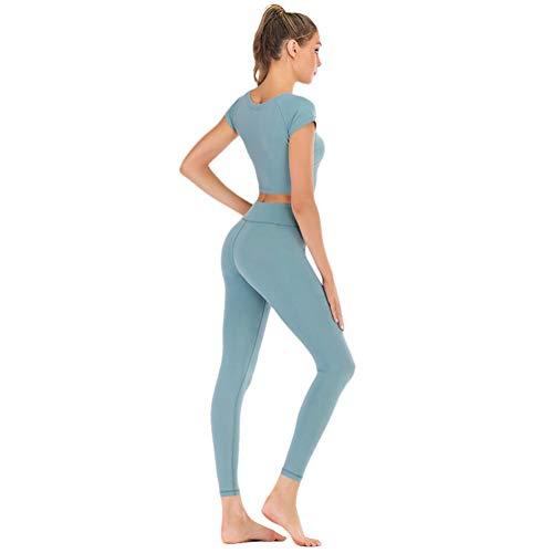 Xinwcang Yoga Conjunto De Mujer Mujeres T-Shirt Deportivo Top and Leggings Gimnasio Ropa Chándal Yoga Gris Azul S