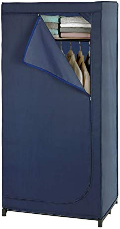 Wenko 64530100 Kleiderschrank Business mit Ablage - Mobile Garderobe, Faltschrank, 75 x 160 x 50 cm, Dunkelblau