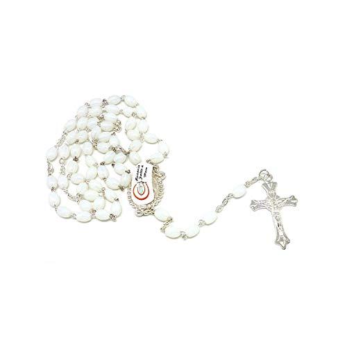 DELL'ARTE Artículos religiosos, rosario de cristal de color blanco, 7 x 5 mm, con caja para rosarios.