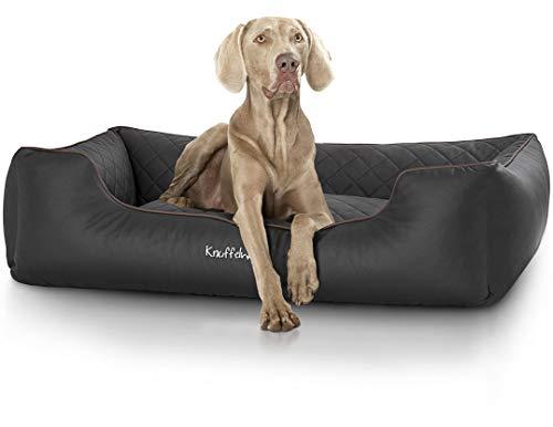 Knuffelwuff Orthopädisches Hundebett Madison aus Laser gestepptem Kunstleder waschbar Hunde ortho bed Hundesofa Hundekorb Hundekörbchen orthopädisch memory XL 105 x 75cm Schwarz