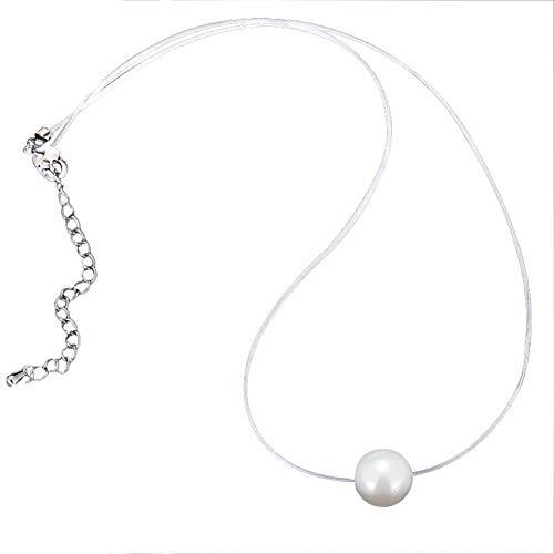 Kanggest.Collar Invisible Colgante de Perlas para Mujer Niña,Infinito U Collares Invisible Joyería de Plata de Las Mujeres,Cadena Transparente con Colgantes