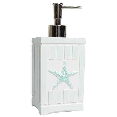 Sweet Home Collection Bathroom Accessories Collection Unique Decorative Beautiful Designs Bath Décor, Lotion Pump/Soap Dispenser, Beach Shells