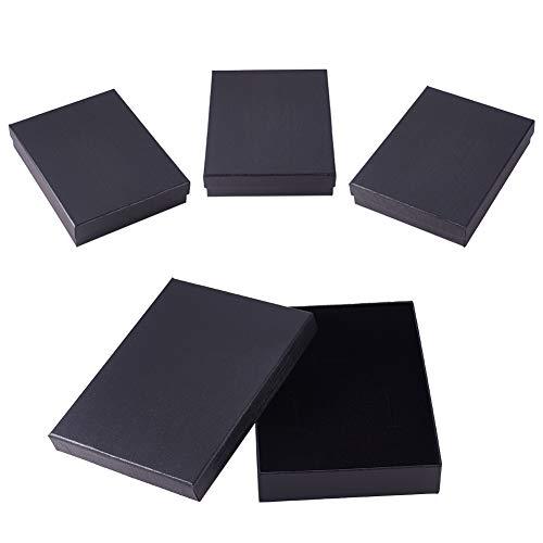 PandaHall 4 Stück Geschenkboxen Halskette Armband Ohrring Schmuck Papierbox, Rechteckige Aufbewahrungsbox, Schwarz, 18.2x14.1x3.75 cm