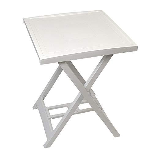 PROGARDEN Klapptisch 'Arno' 50x47cm, Kunststoff, Weiß - Beistelltisch Campingtisch Balkontisch Gartentisch Gartenmöbel Balkonmöbel Campingmöbel