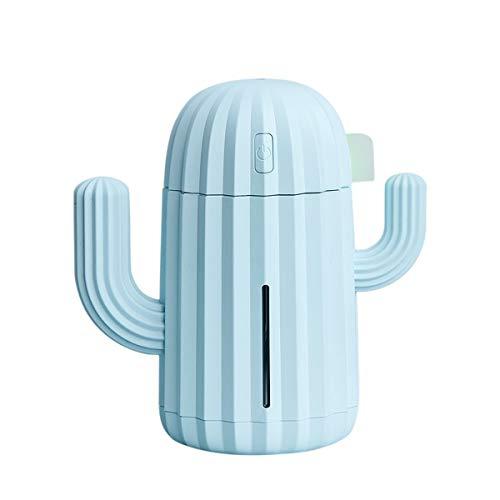 340ML USB Cactus Air Humidifier Aromatherapy Diffuser Mist Maker Fogger Mini Aroma Atomizer Car Essential oil diffuser (Blue)