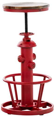 CLP Sgabello Industriale Vintage Bruna in Legno di Pino E Metallo I Sedia Sgabello Rustica Regolabile 63-79 CM, Colore:Rosso